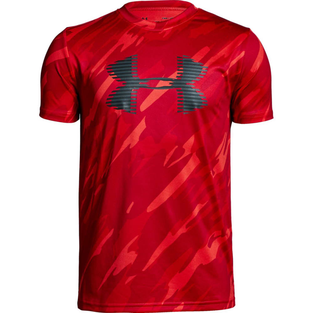 UNDER ARMOUR Big Boys' UA Tech Big Logo Printed Short-Sleeve Tee - RADIO RED/CHARCL-890