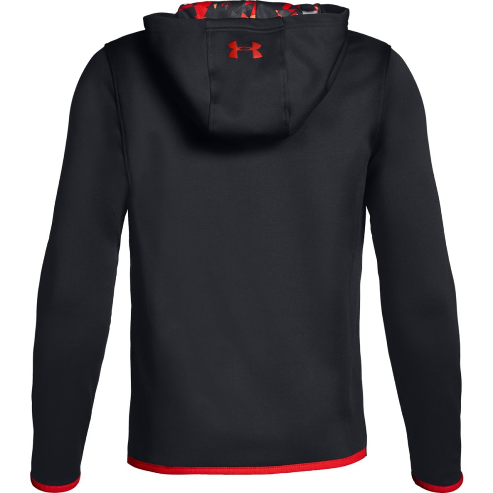 UNDER ARMOUR Big Boys' Armour Fleece Highlight Printed Pullover Hoodie - BLACK/RADIO RED-001