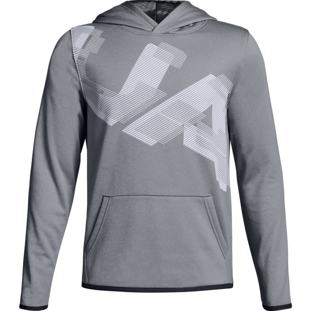 UNDER ARMOUR Big Boys' Armour Fleece Highlight Printed Pullover Hoodie - STEEL/WHITE-035
