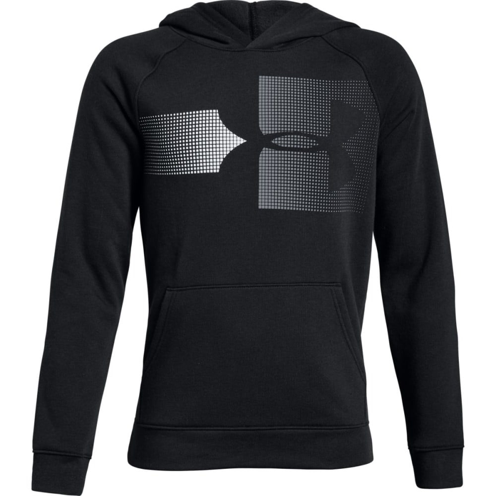 UNDER ARMOUR Big Boys' UA Rival Logo Pullover Hoodie - BLACK/STEEL-001