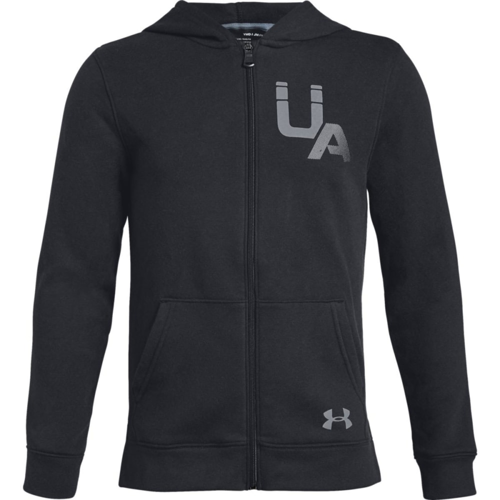 UNDER ARMOUR Big Boys' UA Rival Logo Full-Zip Hoodie - BLACK/STEEL-001