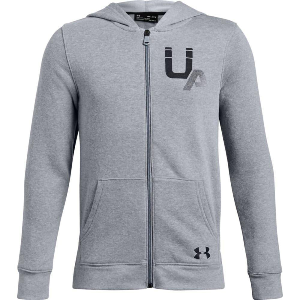 UNDER ARMOUR Big Boys' UA Rival Logo Full-Zip Hoodie - STEEL LT HTR-035