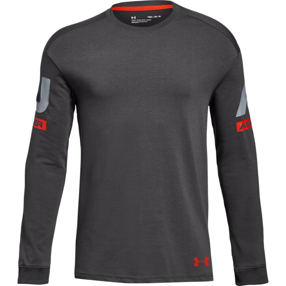 UNDER ARMOUR Big Boys' UA Sportstyle Crew Long-Sleeve Shirt - CHARCOAL/RED-019