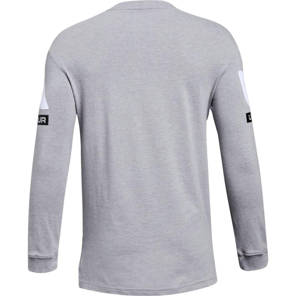 UNDER ARMOUR Big Boys' UA Sportstyle Crew Long-Sleeve Shirt - WHITE/BLACK-100