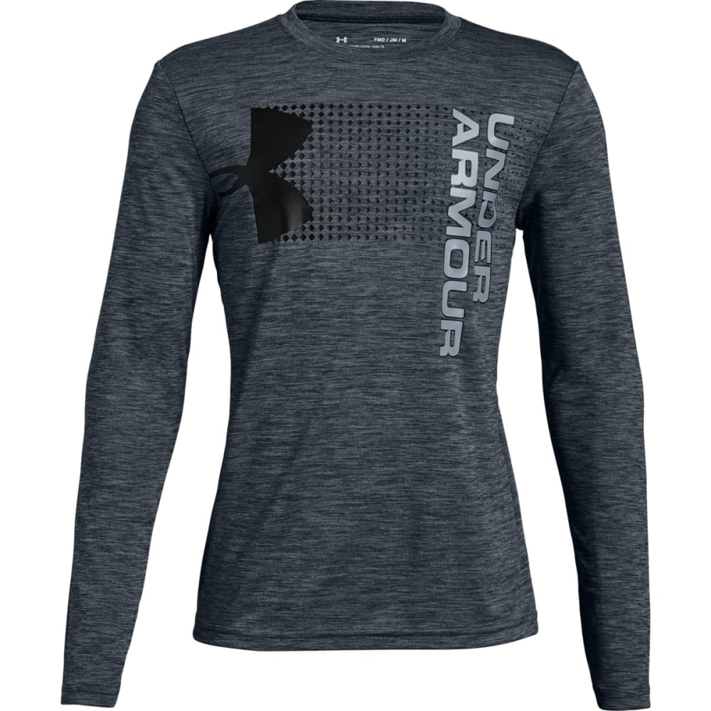 UNDER ARMOUR Big Boys' UA Crossfade Long-Sleeve Tee - STEALTH GRY/BLK-008