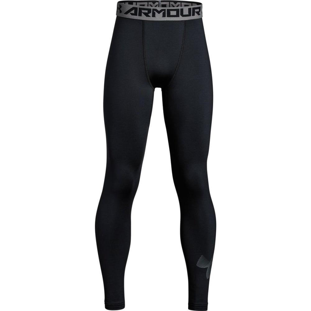 UNDER ARMOUR Big Boys' ColdGear® Armour Printed Leggings - BLACK/GRAPHITE-001