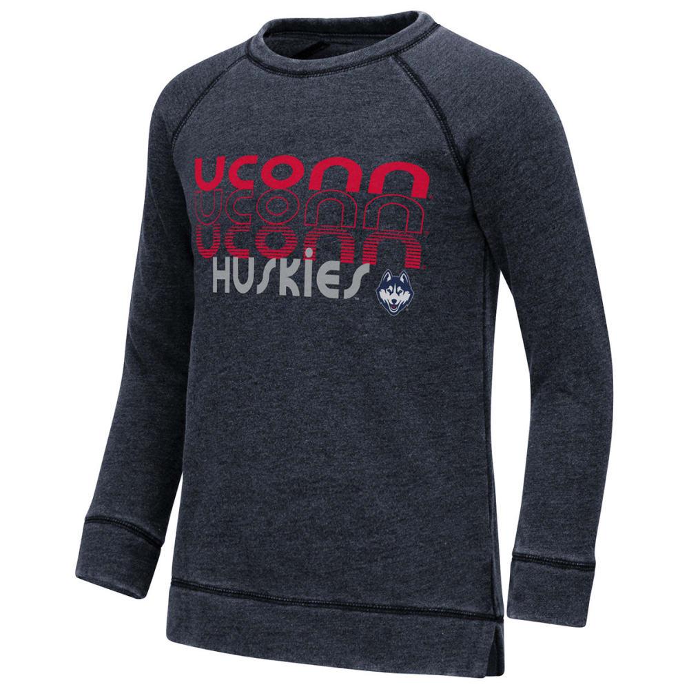 UCONN Big Girls' Hot Hands Burnout Fleece Pullover - NAVY