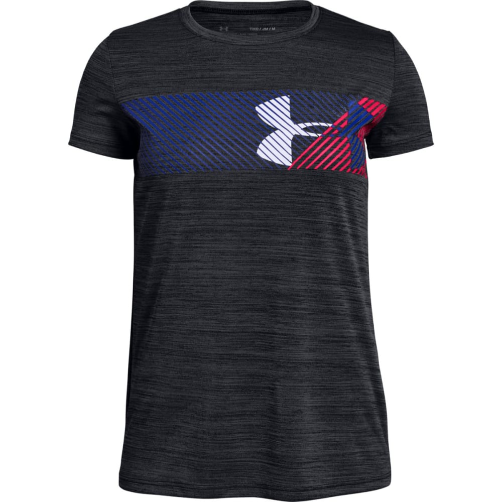 Under Armour Big Girls' Ua Hybrid Big Logo Short-Sleeve Tee - Black, M