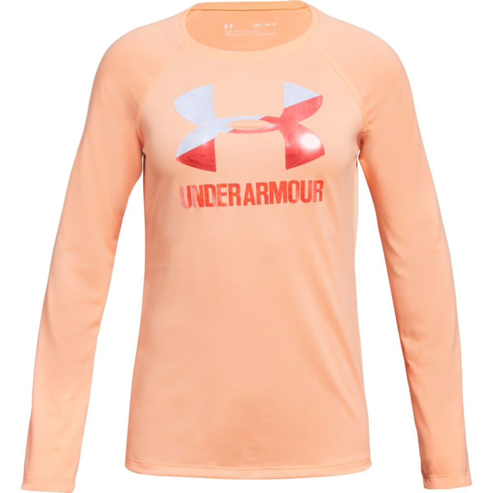 UNDER ARMOUR Big Girls' UA Big Logo Long-Sleeve Tee - PEACH HORIZON-906