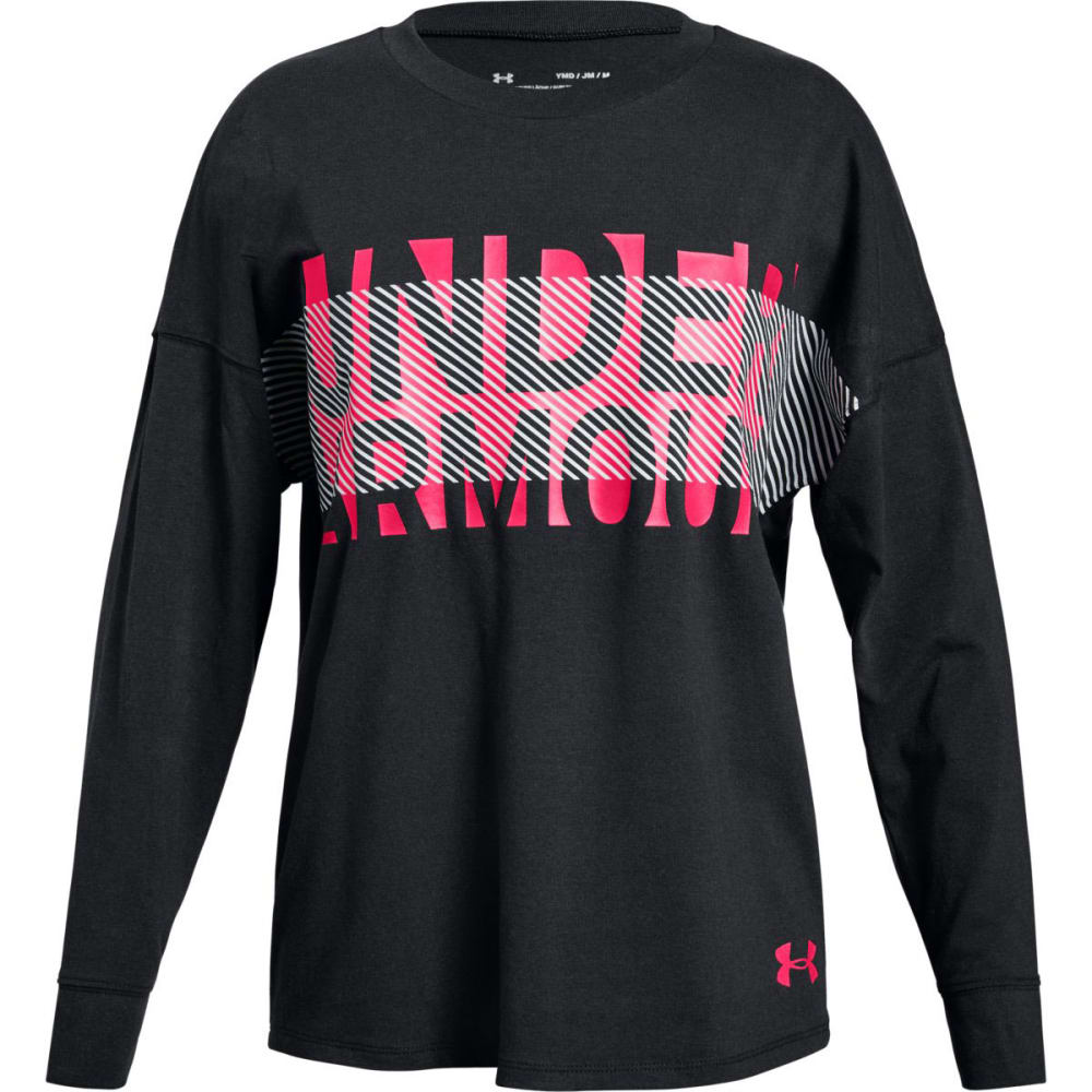 UNDER ARMOUR Big Girls' UA Overlay Branded Long-Sleeve Shirt - BLACK/PENTA PNK-001