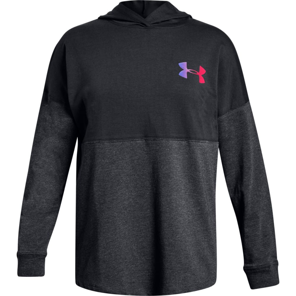 UNDER ARMOUR Big Girls' UA Finale Pullover Hoodie - BLACK/PENTA PNK-001