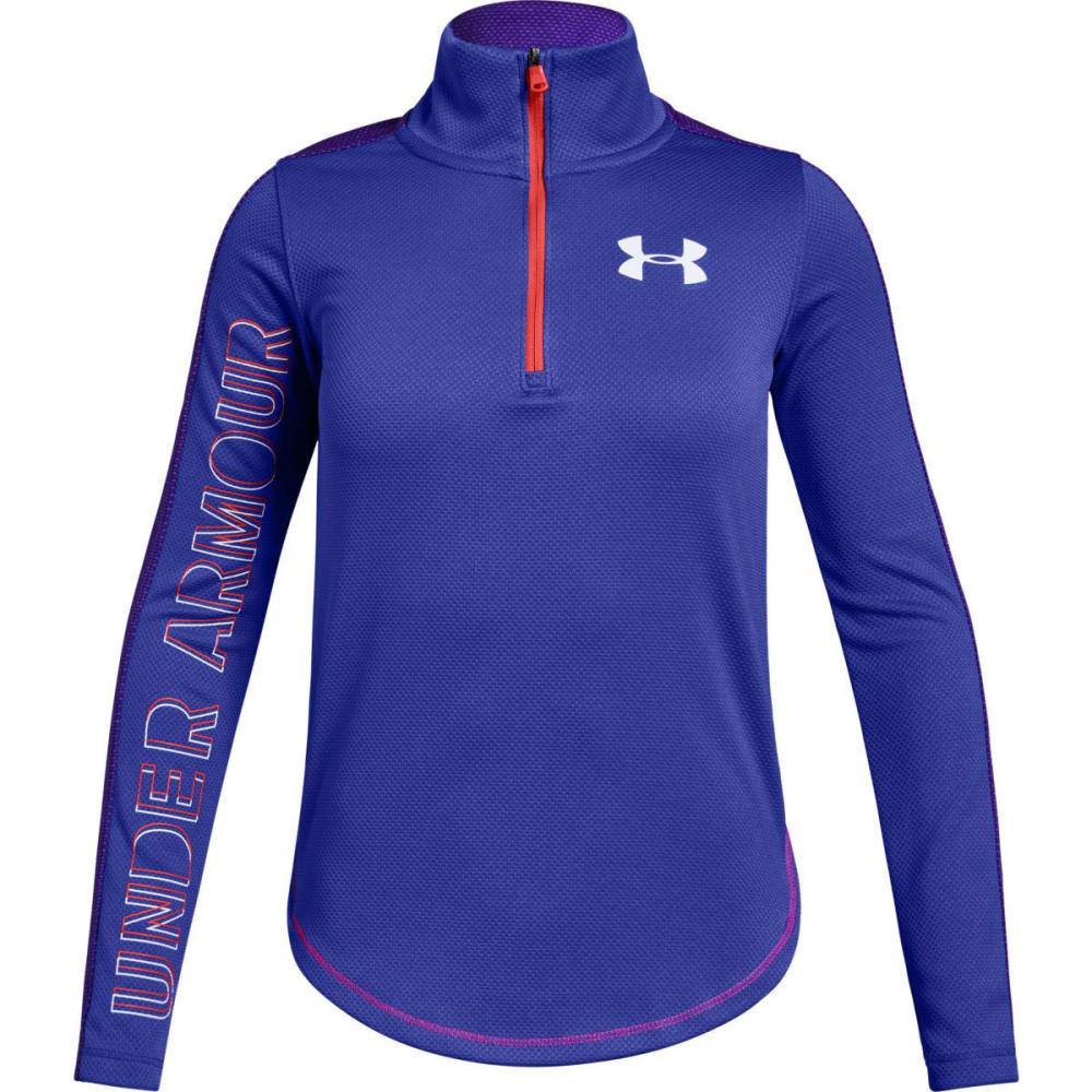 UNDER ARMOUR Big Girls' UA Tech 1/2 Zip Pullover - CONSTLN PRPL/WHT-530