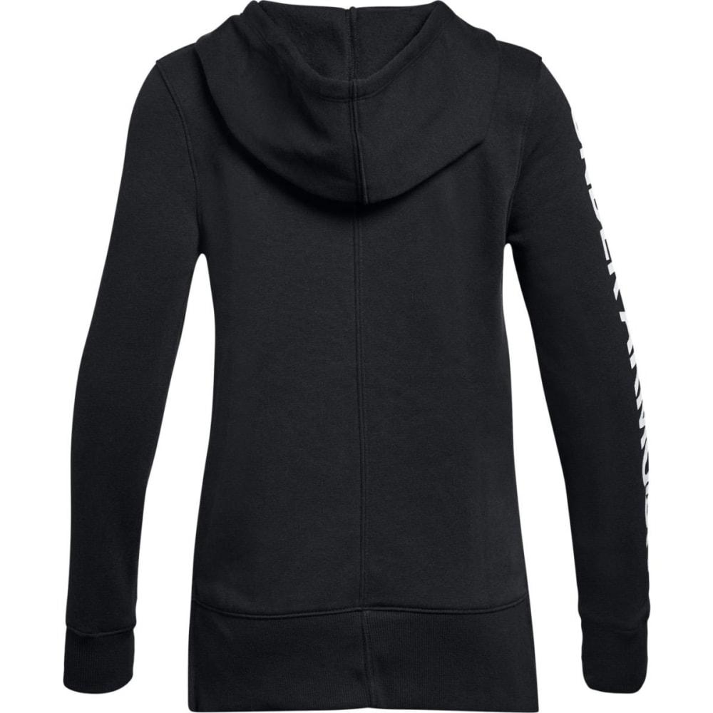 UNDER ARMOUR Big Girls' UA Rival Fleece Full-Zip Hoodie - BLACK/SILVER-001