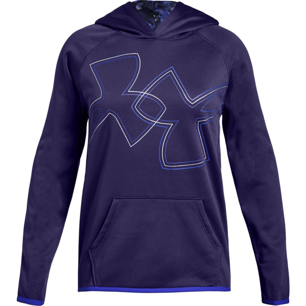 UNDER ARMOUR Big Girls' Armour Fleece Dual Logo Pullover Hoodie S