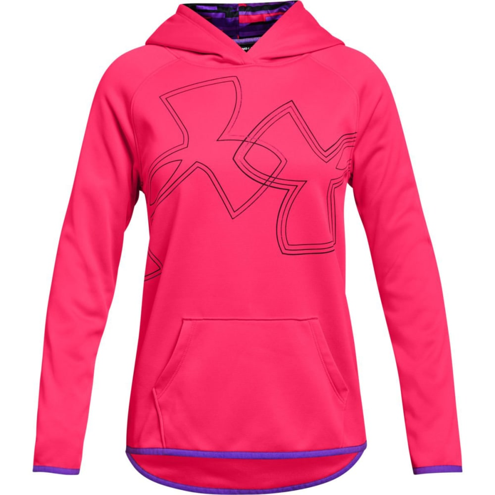 UNDER ARMOUR Big Girls' Armour Fleece Dual Logo Pullover Hoodie - PENTA PNK/BLK-975