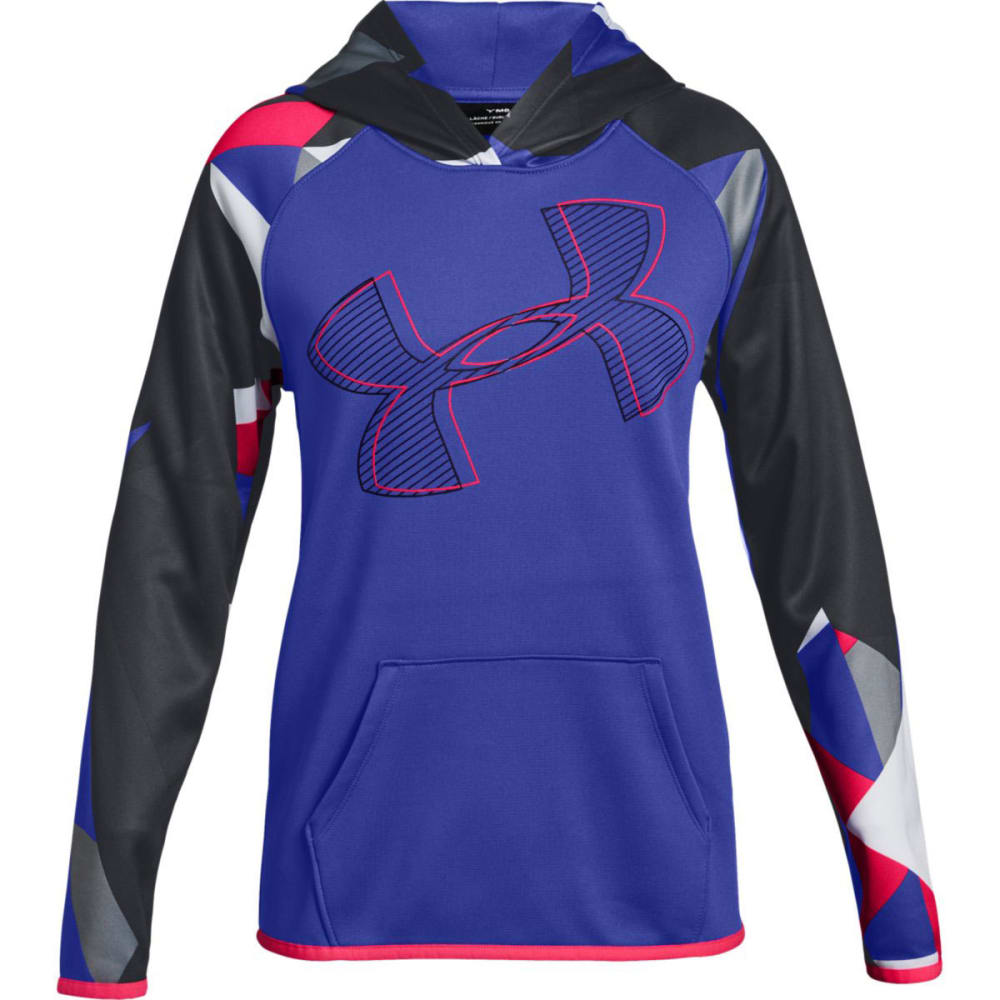 UNDER ARMOUR Big Girls' Armour Fleece Printed Logo Pullover Hoodie - CNSTLTN PRPL/BLK-530