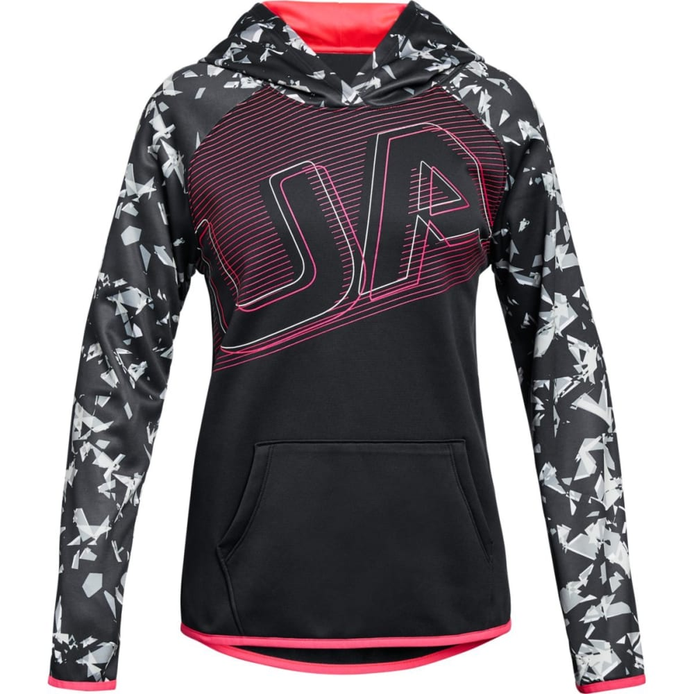 UNDER ARMOUR Big Girls' Armour Fleece Big Logo Pullover Hoodie - BLACK/PENTA PNK-001