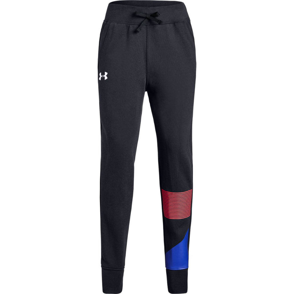 UNDER ARMOUR Big Girls' UA Rival Fleece Jogger Pants - BLACK/PENTA PNK-002
