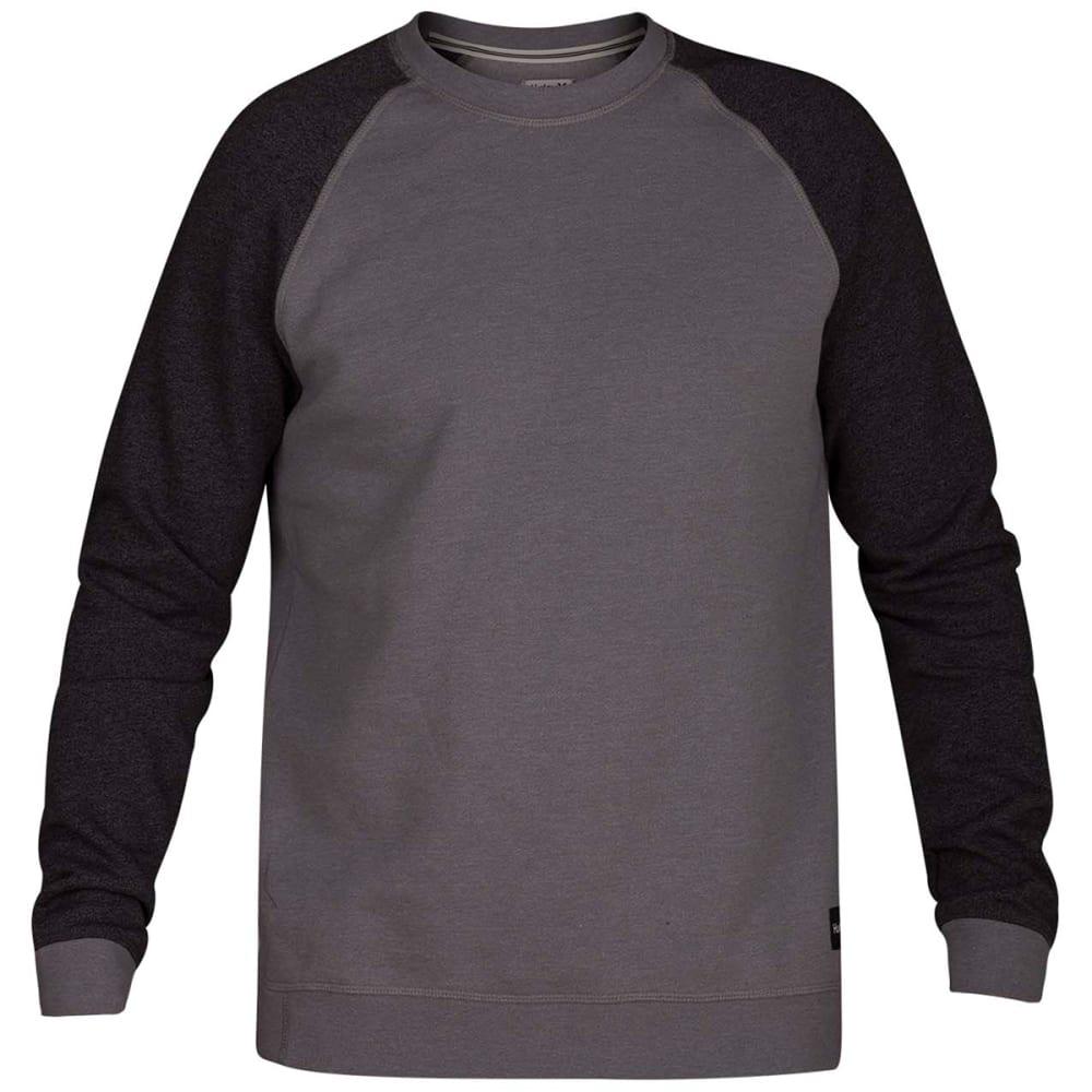 HURLEY Guys' Crone Crew Long-Sleeve Fleece Pullover - GREY HTR-050