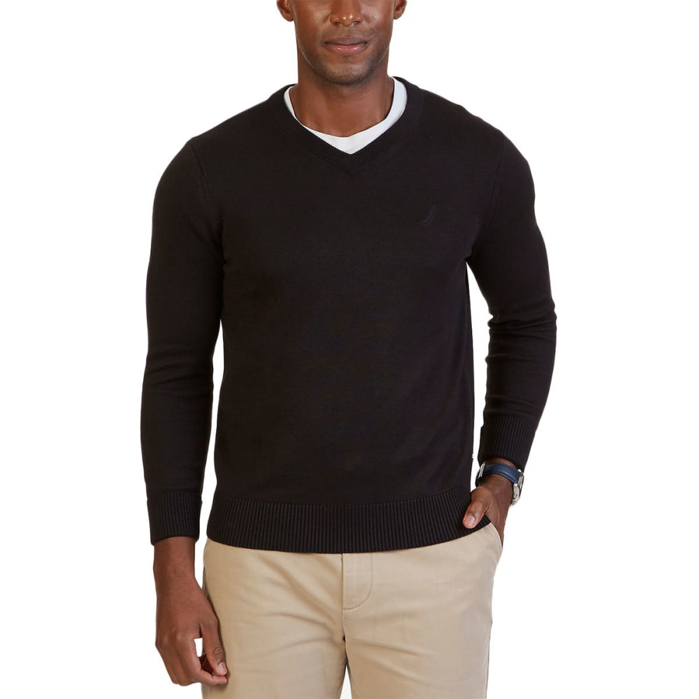 NAUTICA Men's Classic V-Neck Long-Sleeve Sweater - BLACK
