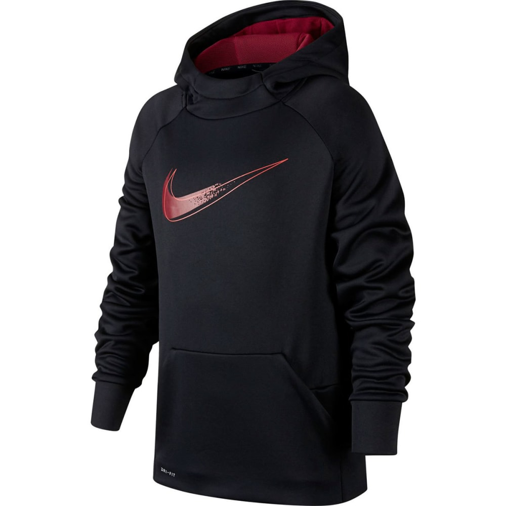NIKE Big Boys' Therma Graphic Training Pullover Hoodie - BLACK/RED-010