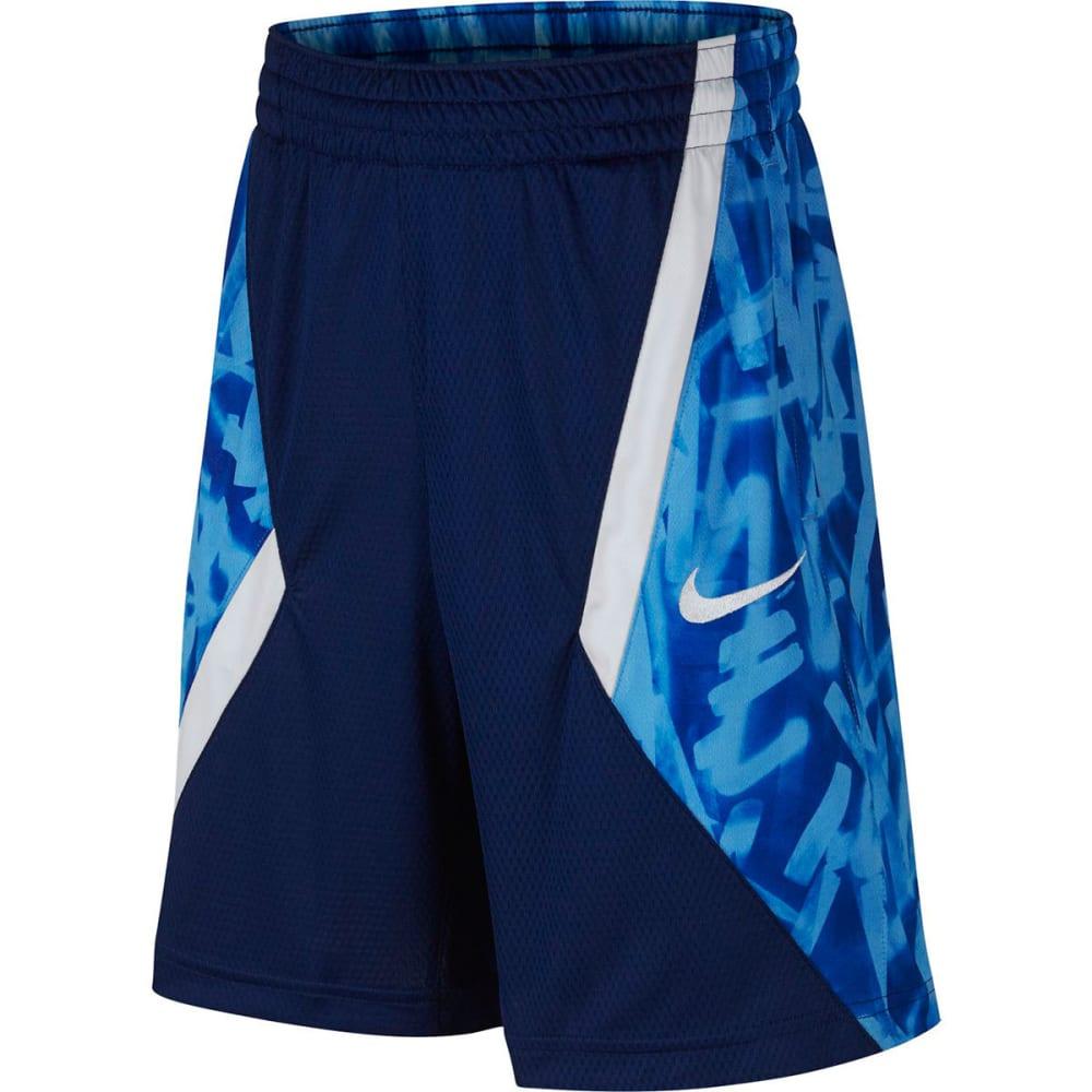 NIKE Big Boys' Avalanche AOP Basketball Shorts - BLUE VOID/WHT-478