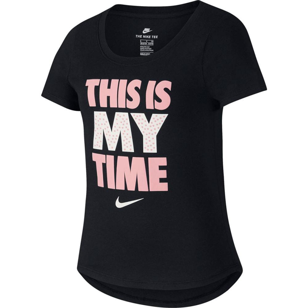 NIKE Big Girls' Sportswear This Is My Time Short-Sleeve Tee - BLACK-010