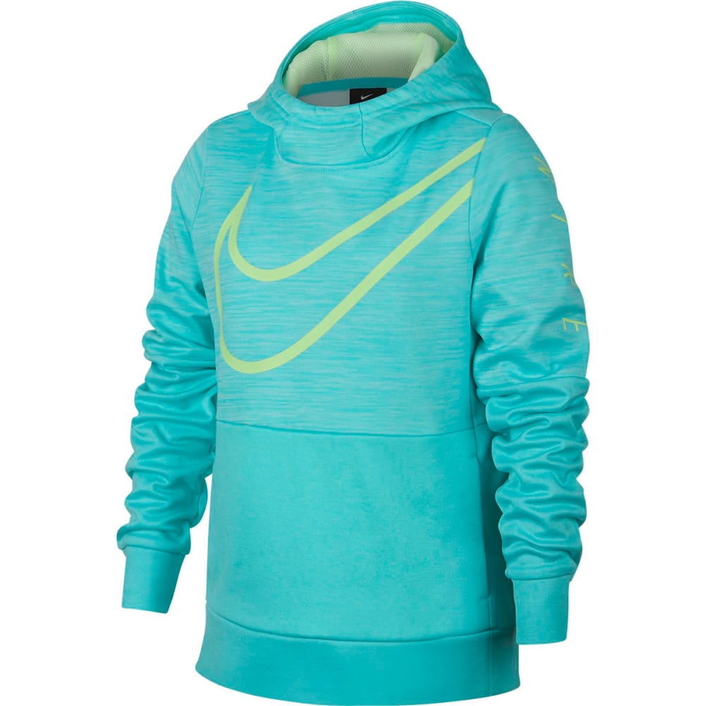 NIKE Big Girls' Therma GX Pullover Hoodie - LY AQUA/BARLYVLT-434