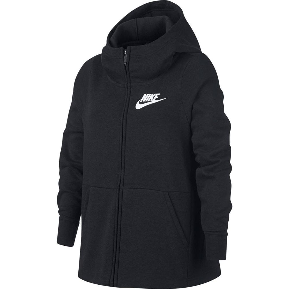 NIKE Big Girls' NSW Full-Zip Hoodie - BLACK/WHITE-010