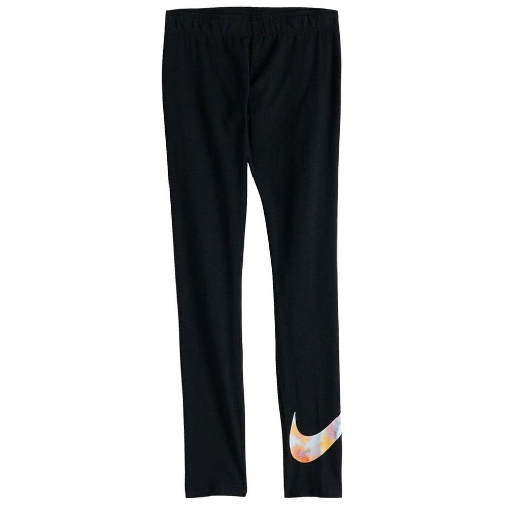 NIKE Big Girls' Sportswear Graphic Tights - BLACK-010