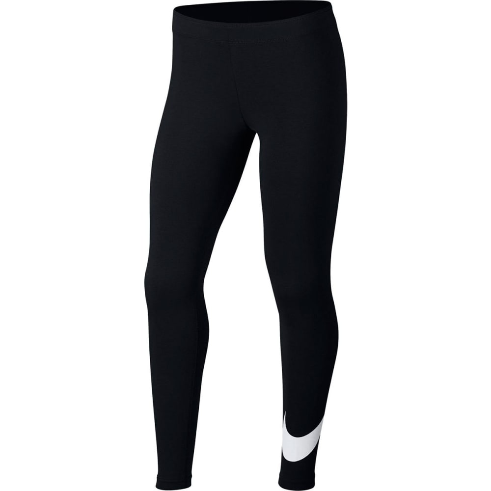 NIKE Big Girls' NSW Favorite Swoosh Tights - BLACK/WHITE-010