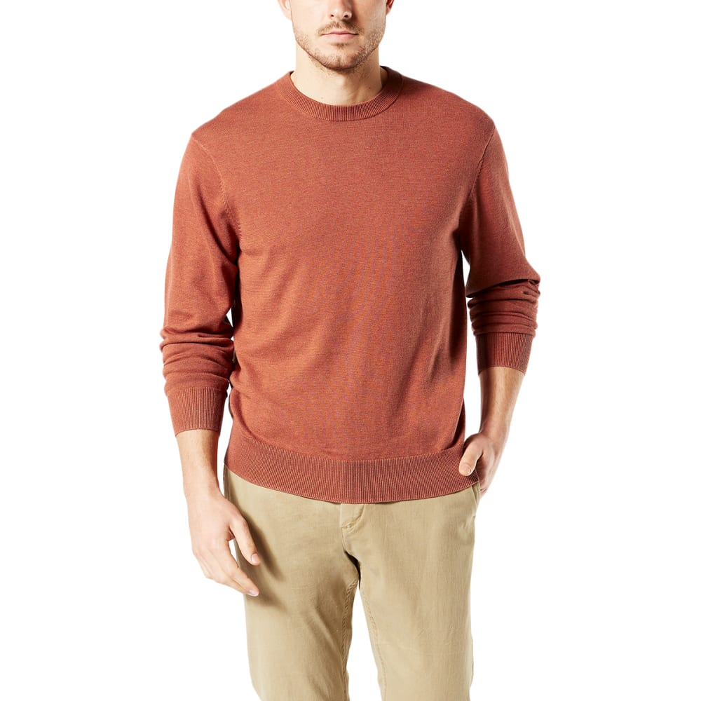DOCKERS Men's Cotton Crewneck Long-Sleeve Sweater - UMBER HEATHER/0003