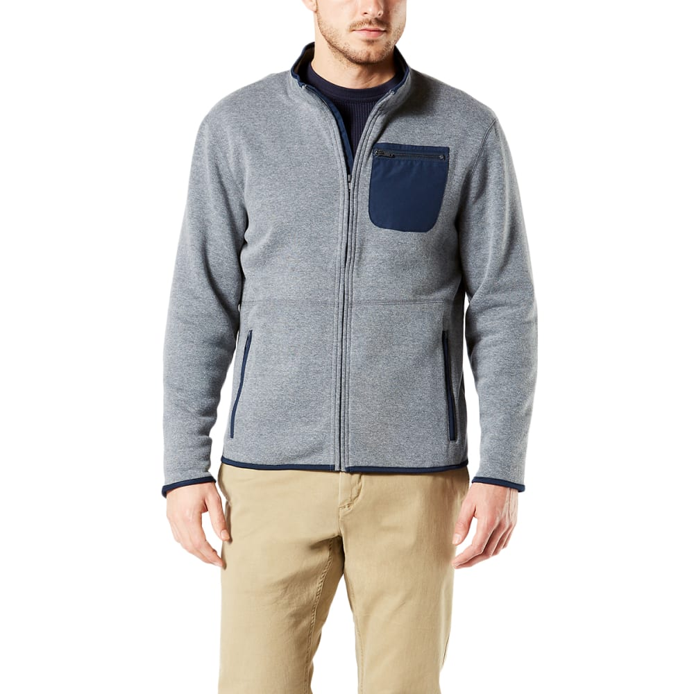 DOCKERS Men's Full-Zip Heather Fleece - GRAVEL HTR 0002