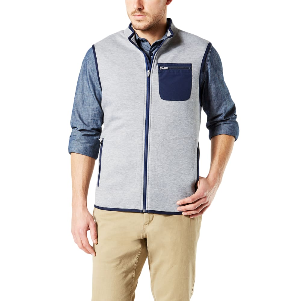 DOCKERS Men's Heather Sweater Fleece Vest - ALUM HEATHER
