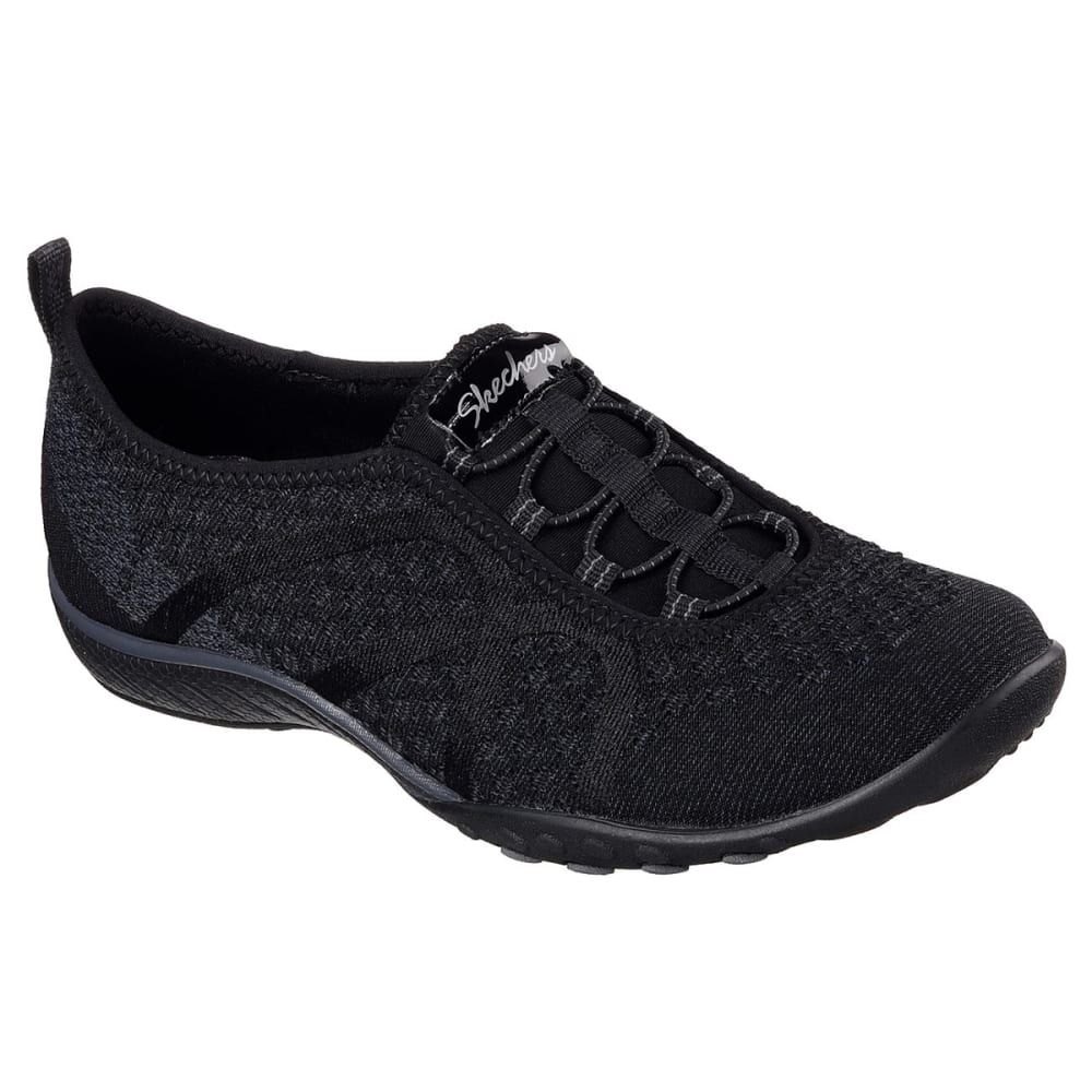 SKECHERS Women's Relaxed Fit: Breathe Easy - Fortune-Knit Casual Slip-On Shoes - BLACK-BLK