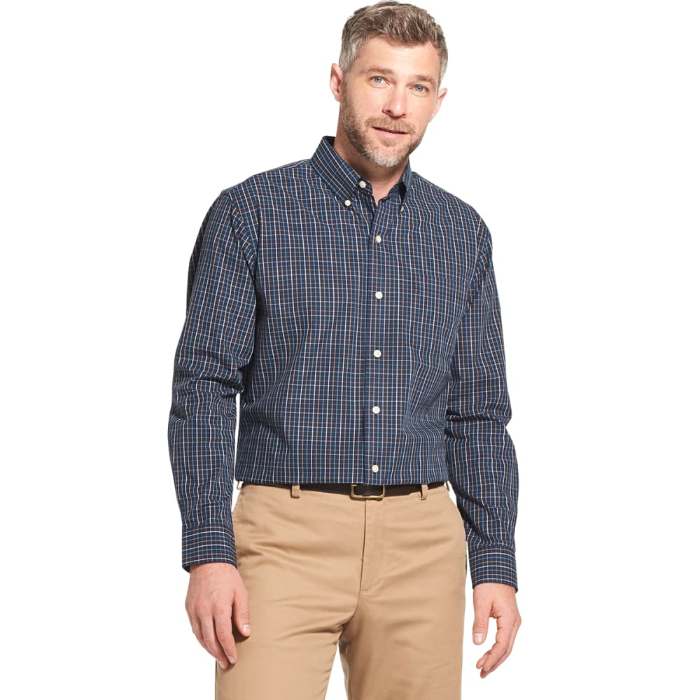 ARROW Men's Hamilton Plaid Poplin Long-Sleeve Shirt - NAVY BLAZER -410