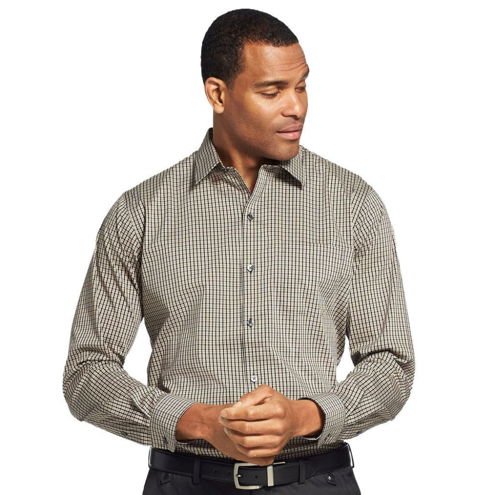 Van Heusen Men's Traveler Performance Stretch No-Iron Long-Sleeve Shirt - Brown, M
