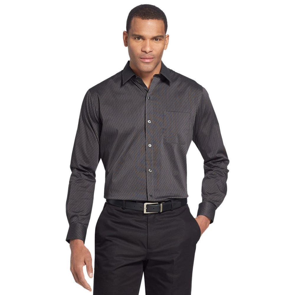 VAN HEUSEN Men's Traveler Performance Stretch No-Iron Long-Sleeve Shirt - BLACK - 001
