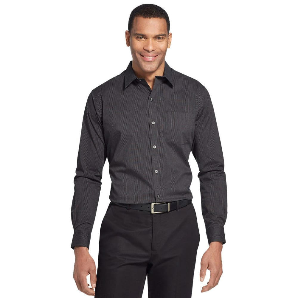 Van Heusen Men's Traveler Performance Stretch No-Iron Long-Sleeve Shirt - Black, M