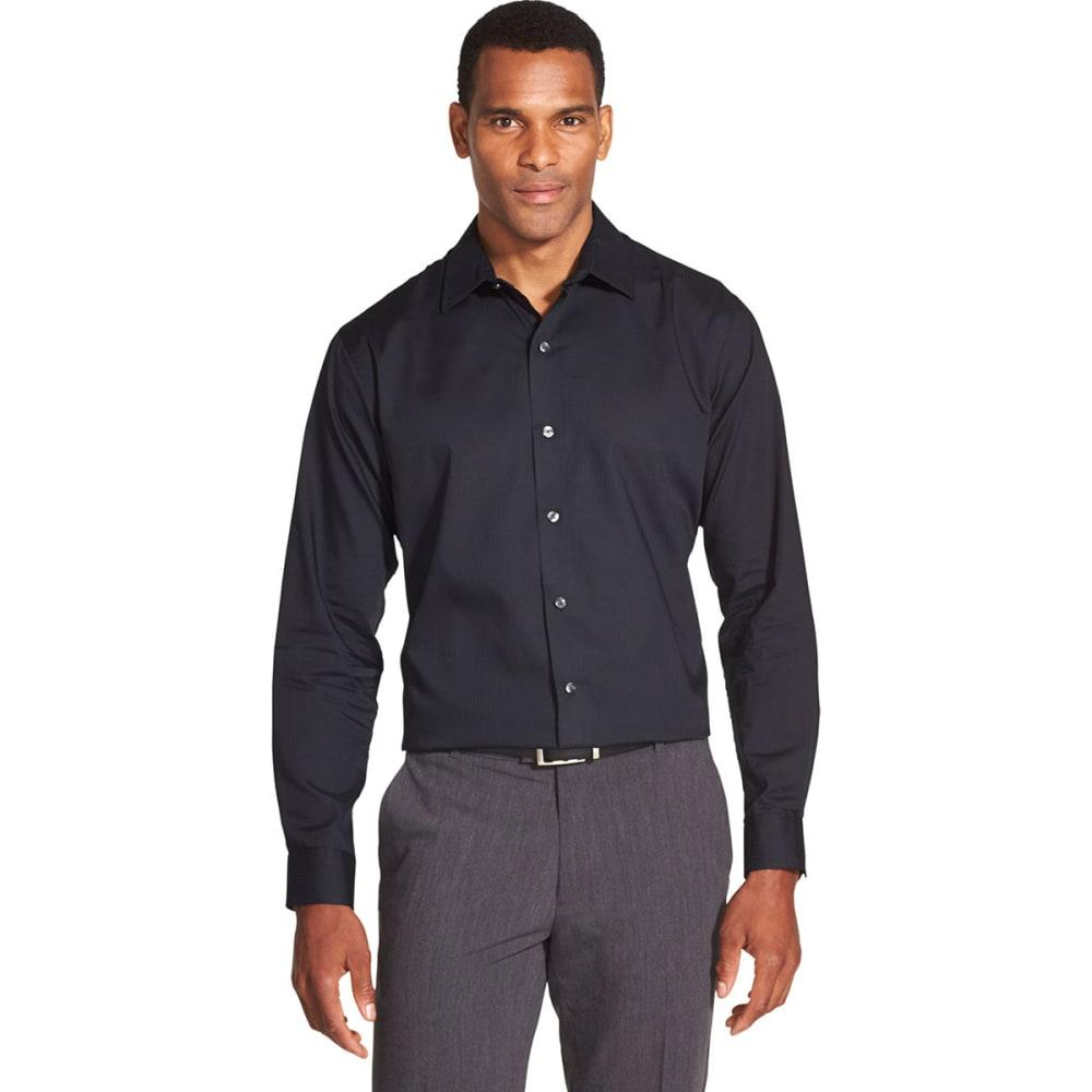 VAN HEUSEN Men's Easy Care Sateen Stripe Long-Sleeve Shirt - BLACK -001