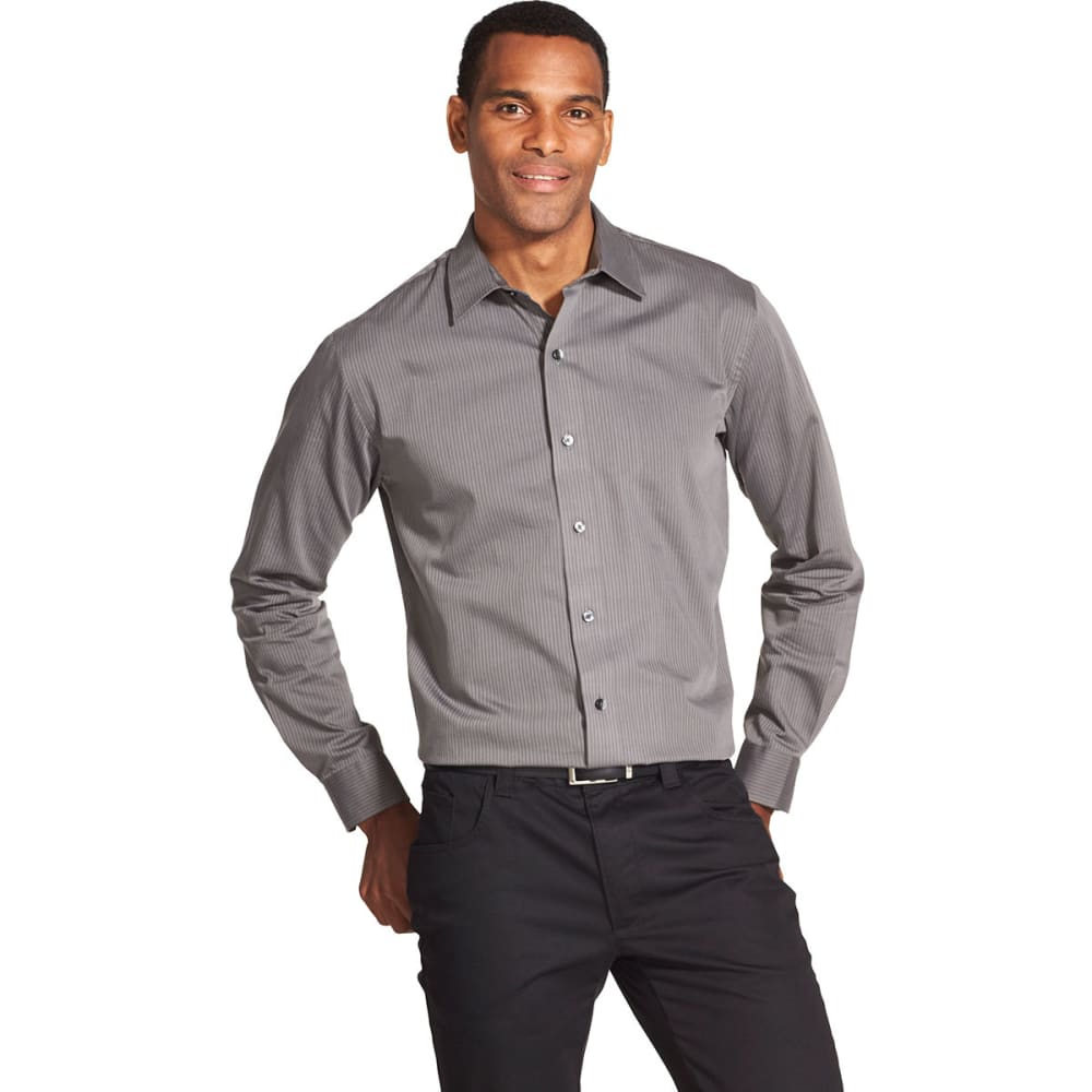 VAN HEUSEN Men's Easy Care Sateen Stripe Long-Sleeve Shirt S