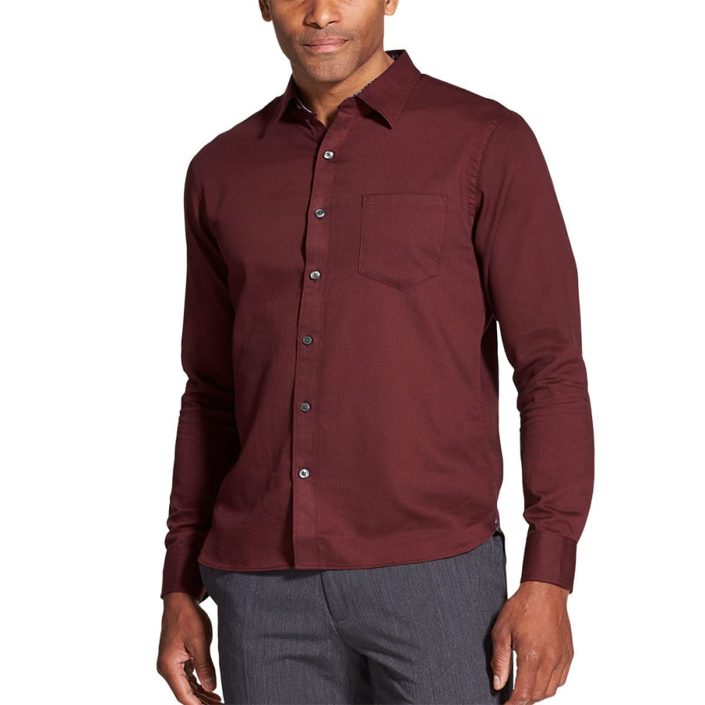 Van Heusen Men's Never Tuck Slim Fit Long-Sleeve Shirt - Red, L