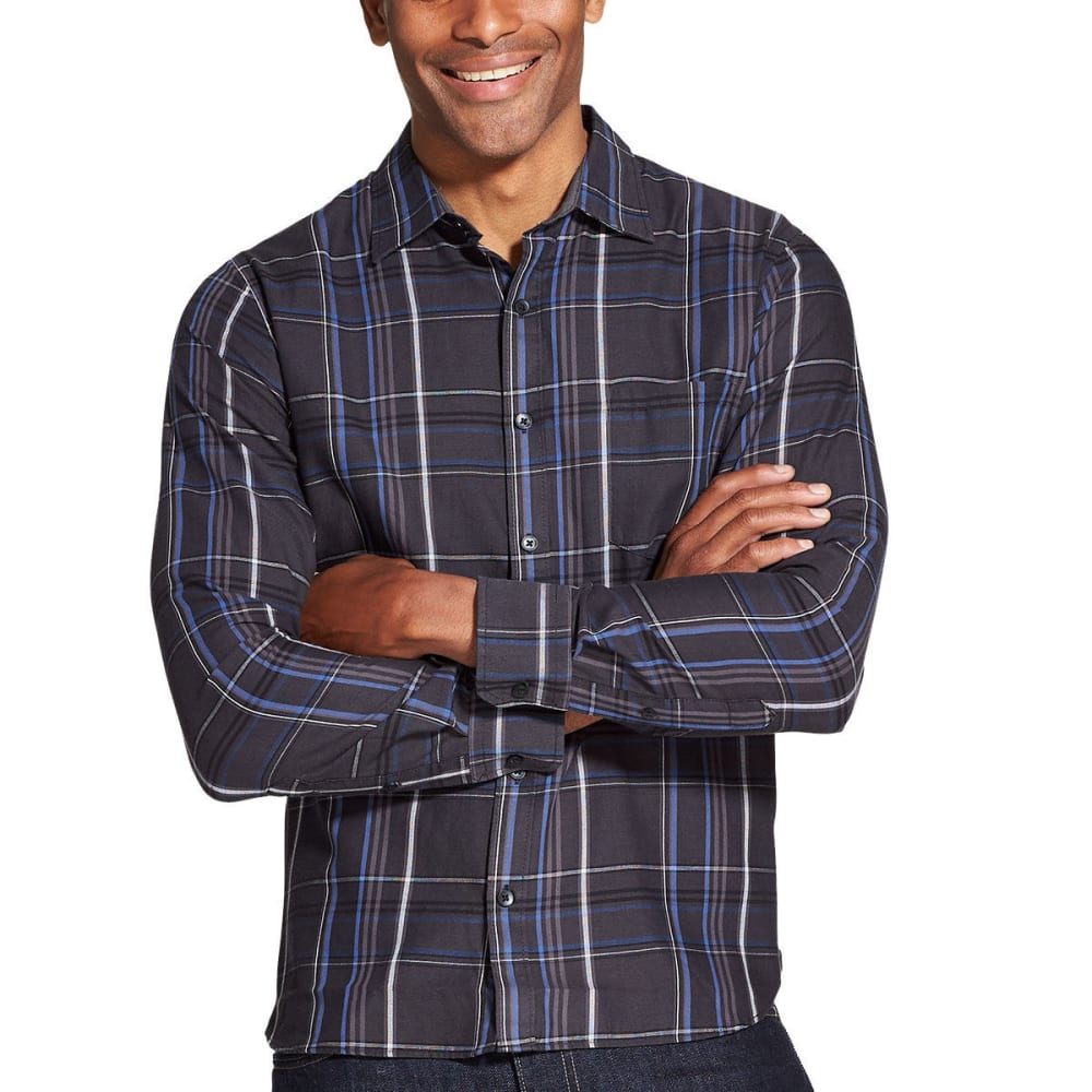 Van Heusen Men's Never Tuck Slim Fit Long-Sleeve Shirt - Black, L