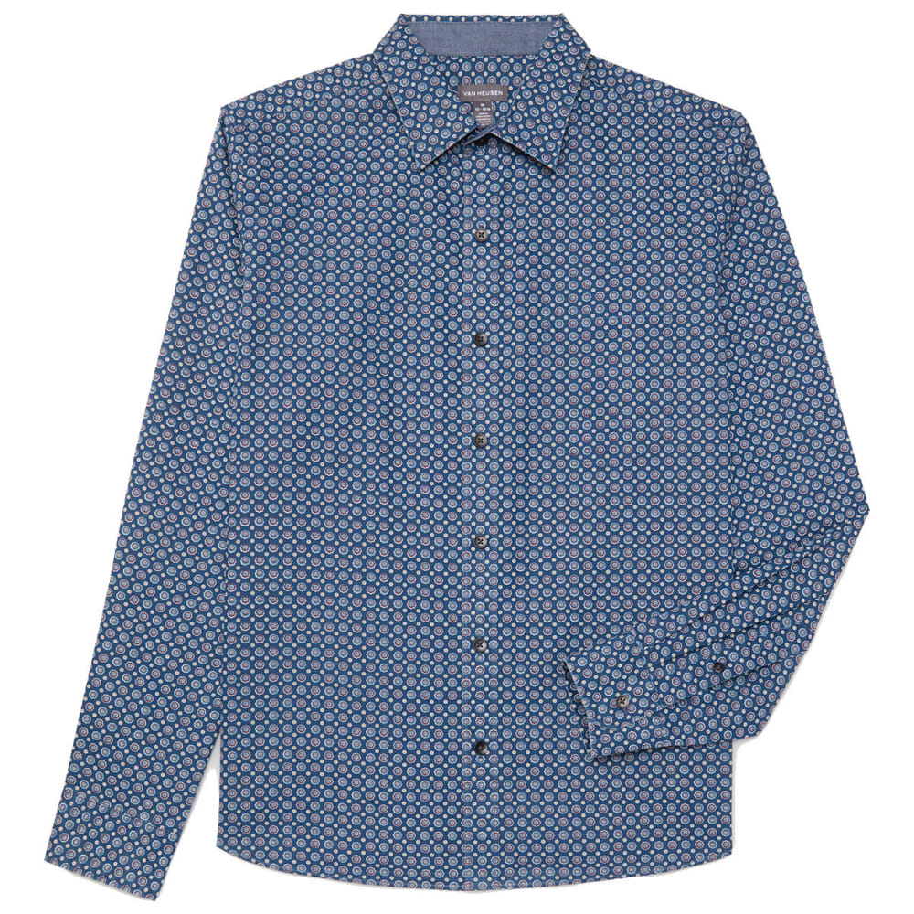 Van Heusen Men's Never Tuck Slim Fit Long-Sleeve Shirt - Blue, M
