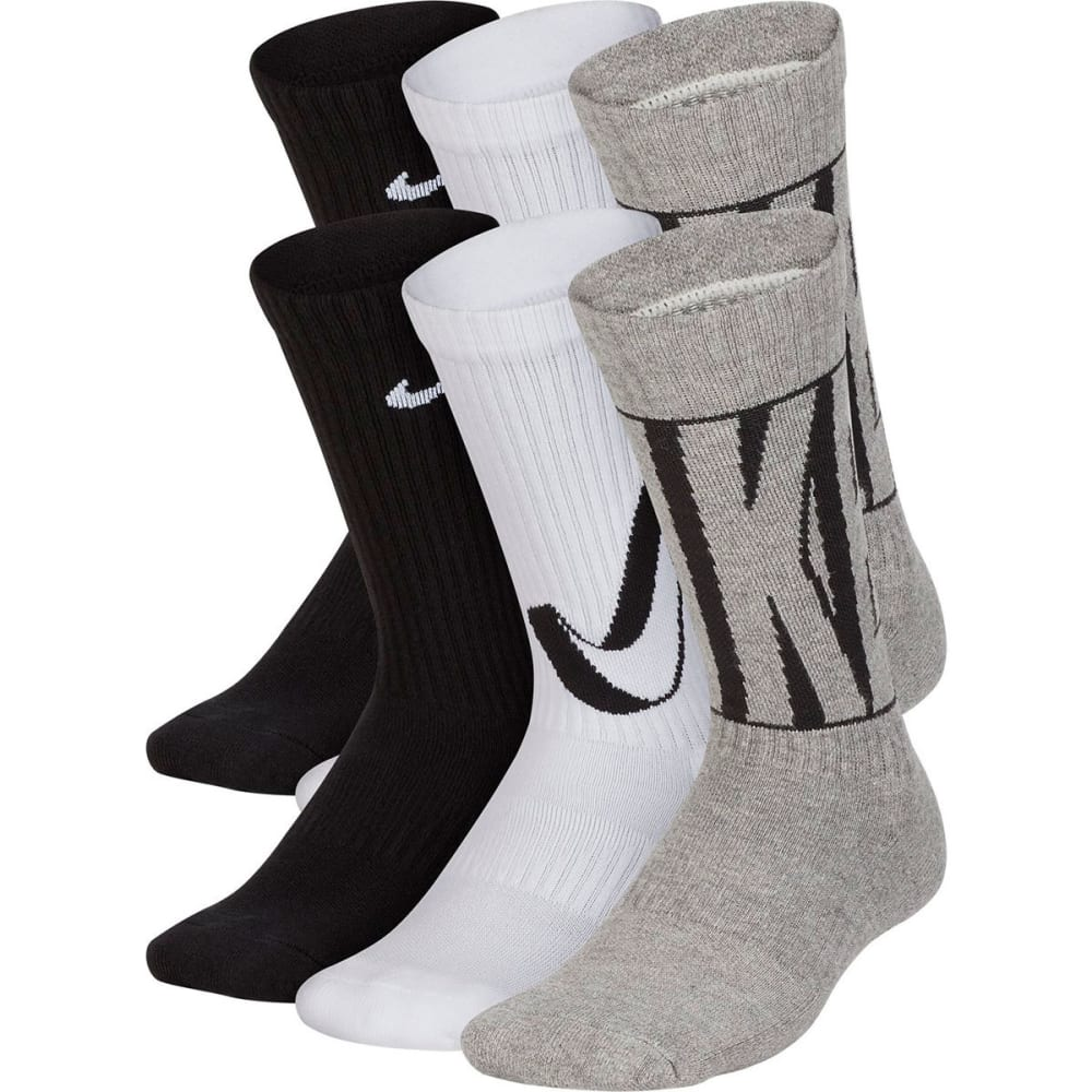 NIKE Big Kids' Performance Cushioned Crew Big Training Socks, 6-Pack M