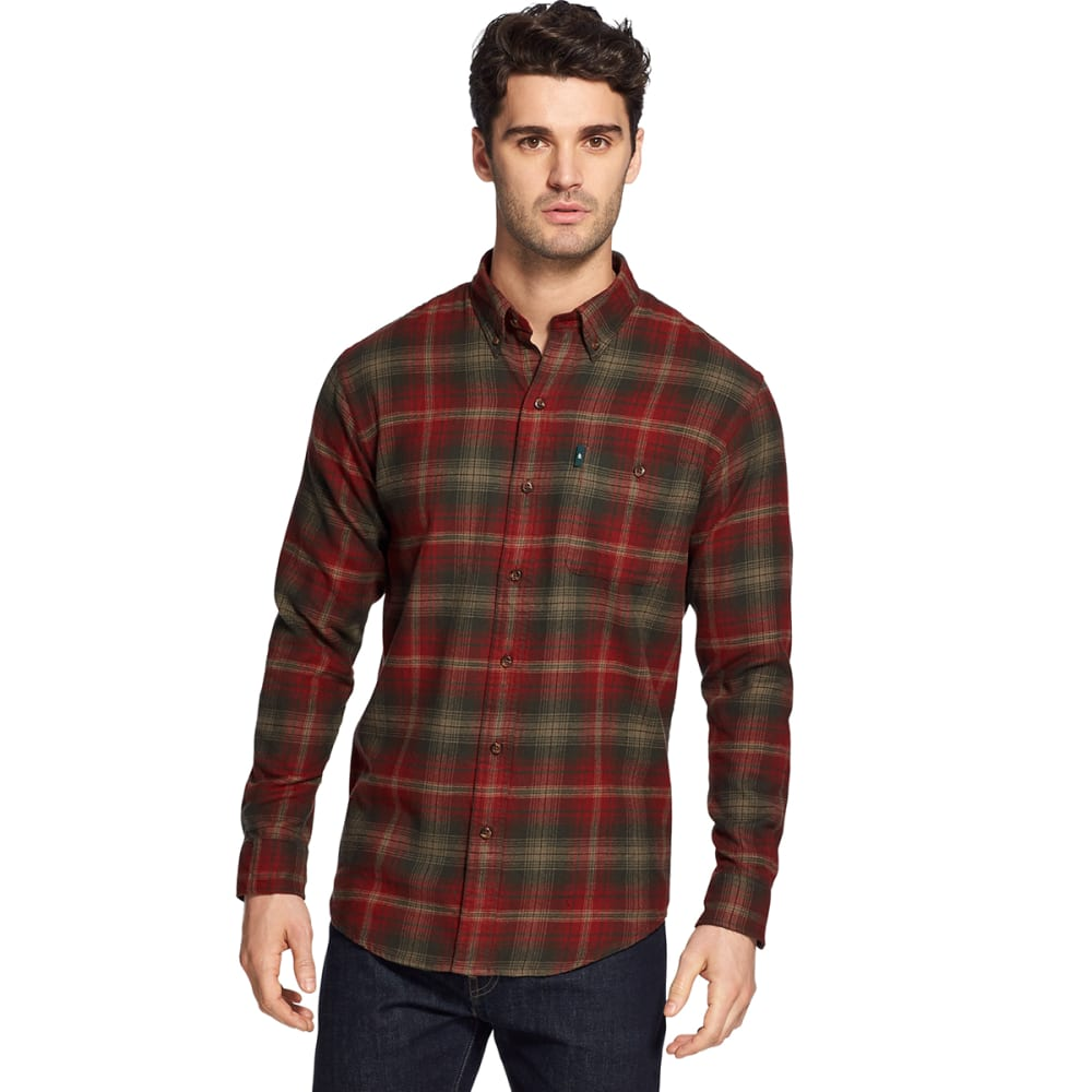 G.H. BASS & CO. Men's Fireside Long-Sleeve Flannel Shirt - ROSIN -303