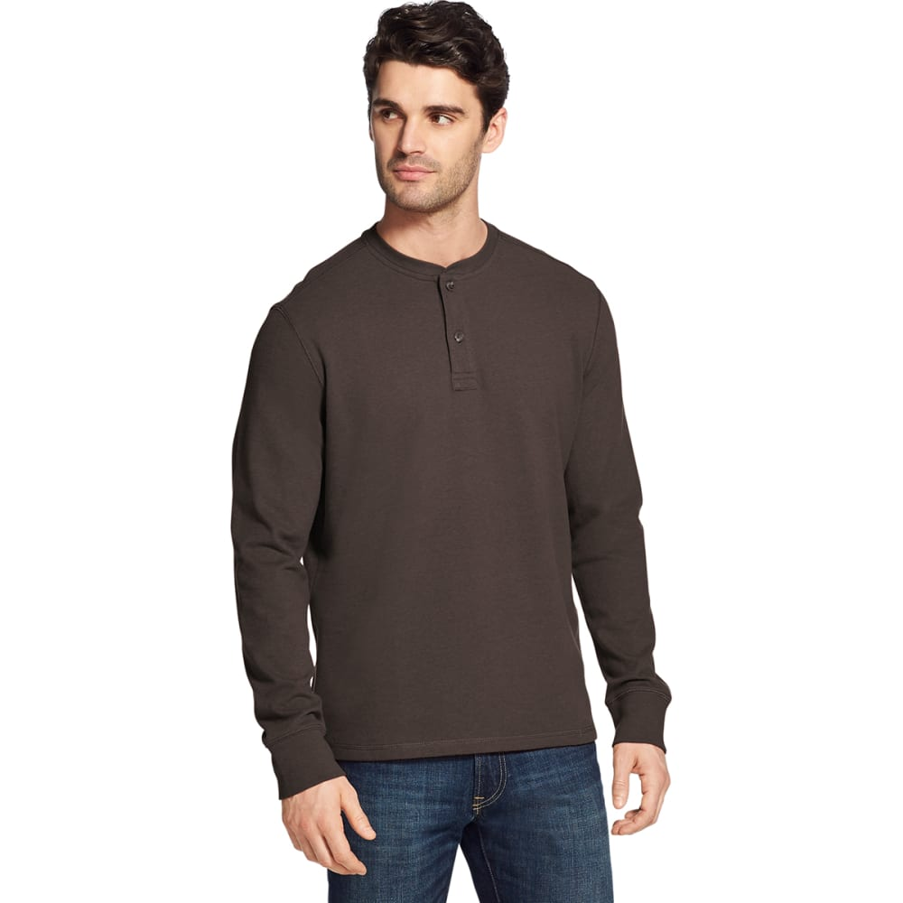 G.H. BASS & CO. Men's Carbon Plaited Jersey Long-Sleeve Henley M