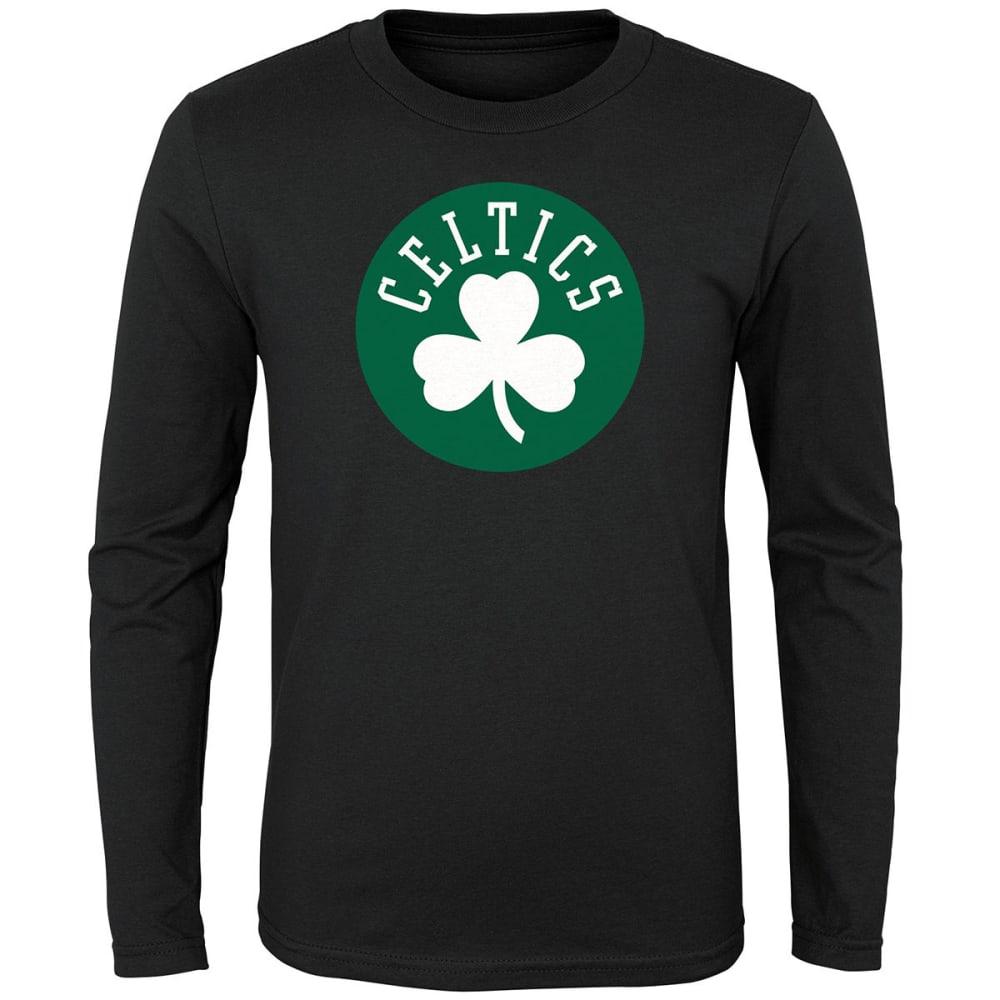 BOSTON CELTICS Boys' Primary Logo Long-Sleeve Tee - BLACK
