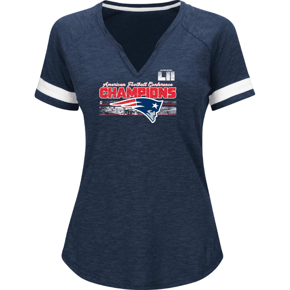 NEW ENGLAND PATRIOTS Women's NFL 2017 AFC Conference Champions Delivering Victory V-Neck Short-Sleeve Tee - NAVY