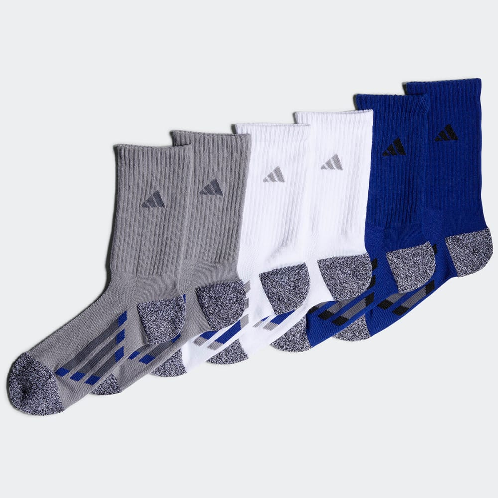 ADIDAS Boys' Climalite Vertical Stripe Crew Socks, 6-Pack - LT ONIX